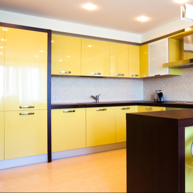 Modern White And High Gloss Vinyl Wrap Yellow Door Kitchen Cabinet - Buy  Kitchen Cabinets High Gloss,High Gloss Yellow Kitchen Cabinets,High Gloss  ...