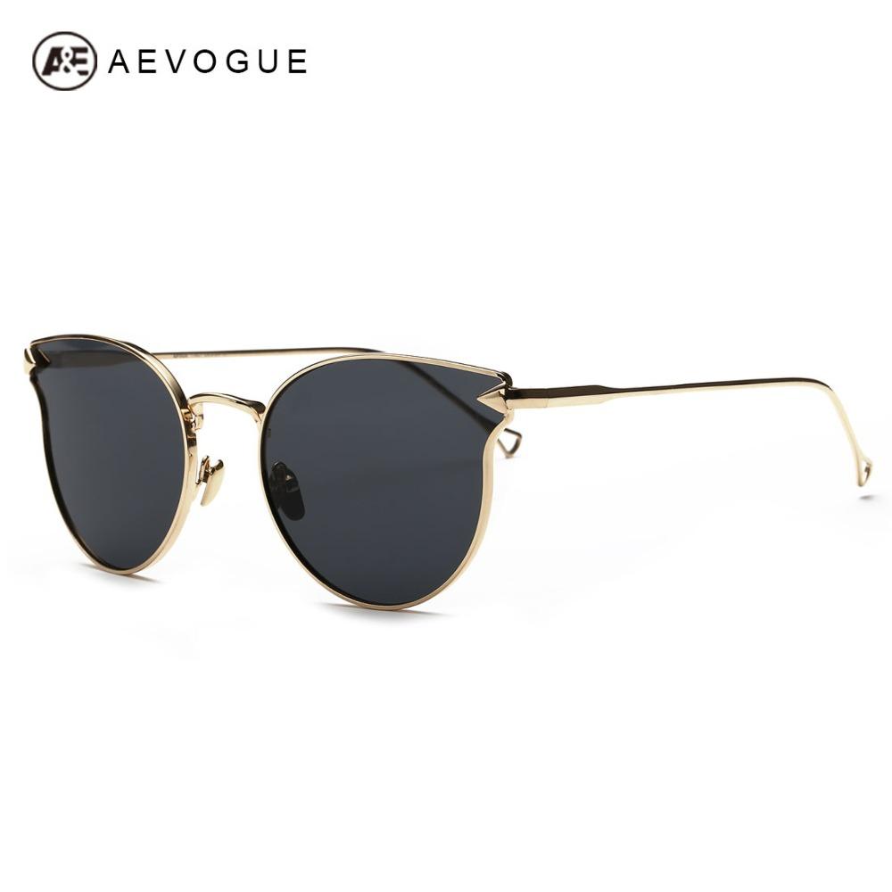 3d1b56fb0a34 AEVOGUE Sunglasses Women Cat Eye Metal Frame Summer Style Brand Design  Vintage Sun Glasses Coating Mirror