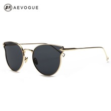 AEVOGUE Sunglasses Women Cat Eye Metal Frame Summer Style Brand Design Vintage Sun Glasses Coating Mirror Flat Lens AE0350