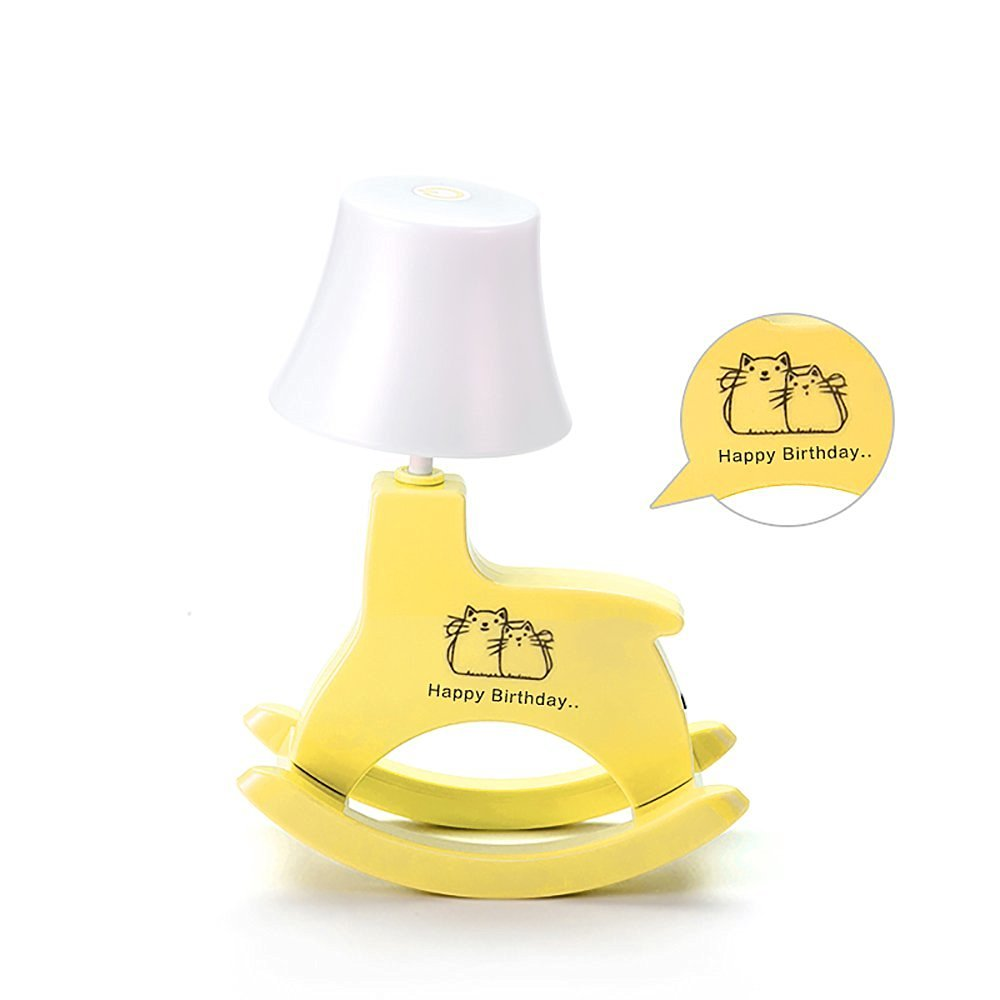 LIWUYOU Adjustable Table Desk Touch Lamp Sensor Personalized Custom Carousel Horse Protable USB Rechargeable LED Music Lamp with Speaker Battery Powered Color Yellow