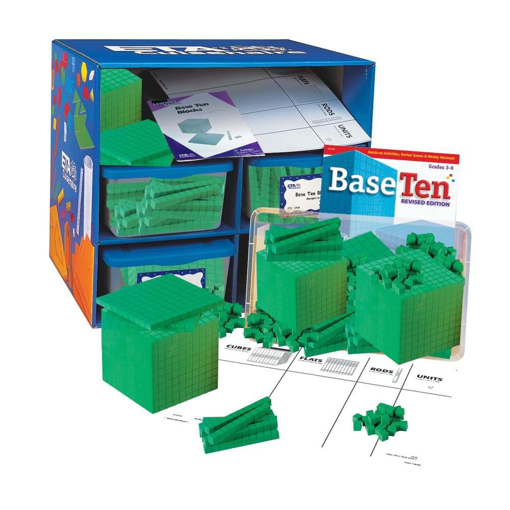 ETA hand2mind Green Foam Base Ten Blocks, Class Set