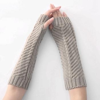 Mode Winter Gehaakte Vingerloze Handschoenen Wanten Armwarmers
