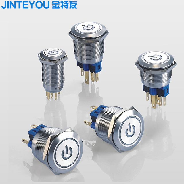 Self-lock Flat Head Metal Botton Switch With Symbol Power