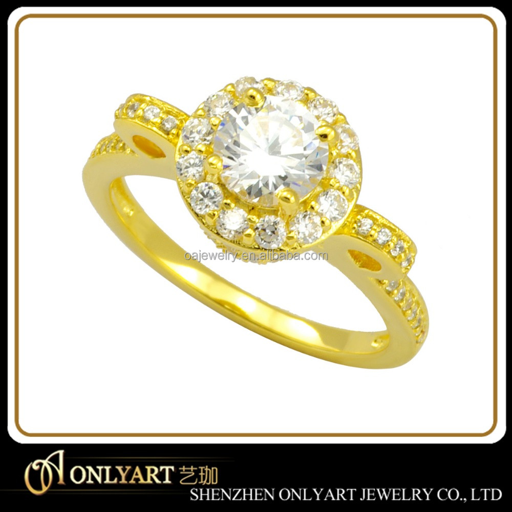 Custom design finger ring pure gold setting diamonds wedding rings