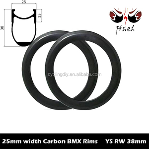 ETRTO 406mm carbon BMX rims 25mm width 38mm deep kid's rim, wide 20 inch carbon training rims factory sale