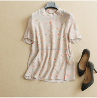 women's dragonfly printed silk stand collar short sleeve blouse