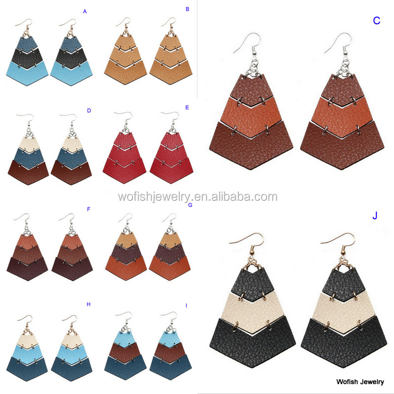Triple colors combo stacking genuine leather chevron drop earring for women