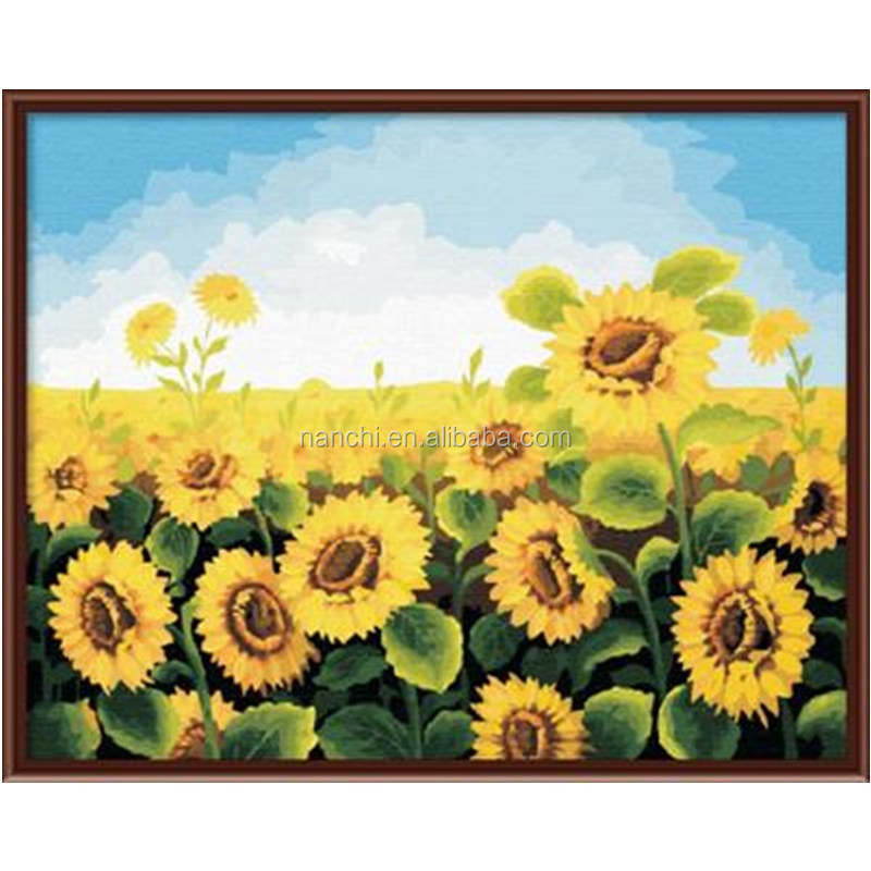 Sunflower Framless New arrival unique gift Digital Oil Painting On Canvas painting by numbers decorative <strong>picture</strong>