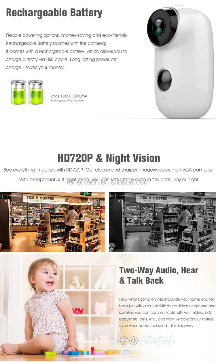cloudedge 720p battery operated outdoor wireless security camera, View 720p  battery security camera, REHENT battery camera Product Details from