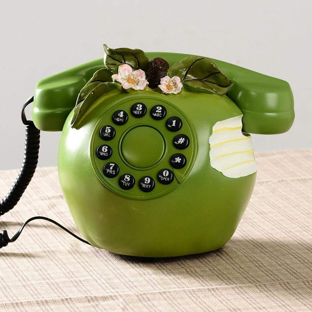 FACAIG Retro crafts, landline telephone, Green Apple style, personality, the bedrooms, lounge, decorations, with buttons-pressure