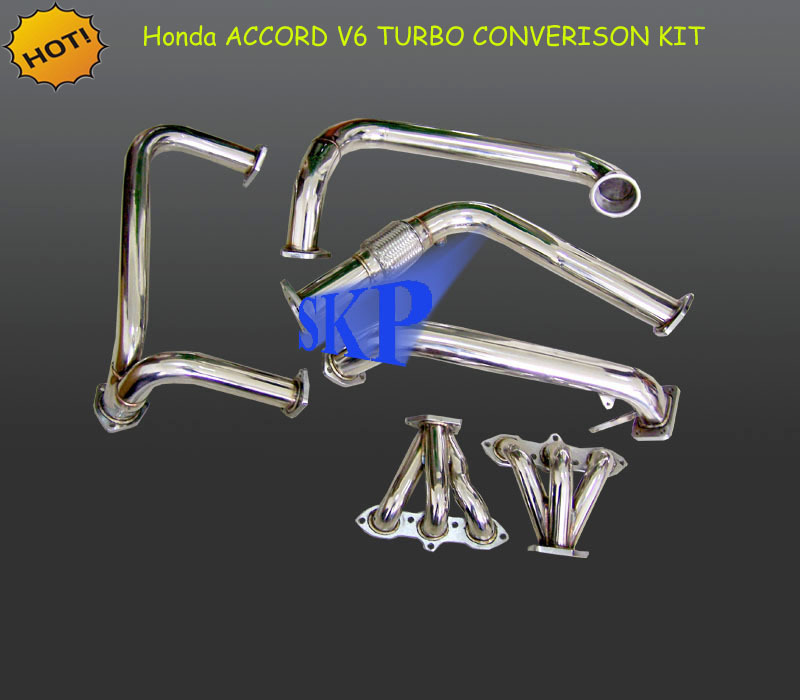 T3/T03 STAINLESS TURBO-CHARGER MANIFOLD+DOWNPIPE EXHAUST FOR 98-02 ACC*ORD V6 CG J30A (Fits: Hond*a Acc*ord)