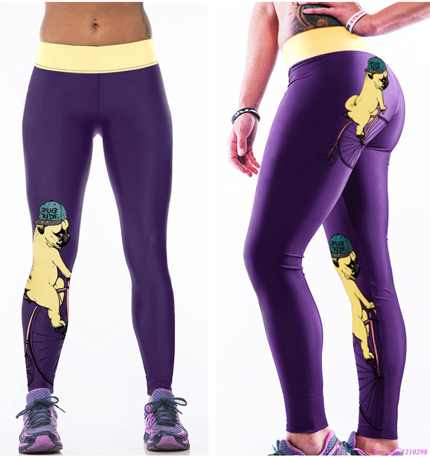 68462b1058e77 Purple Cute Puppy Yoga Pants Leggings Women Fitness Jogging Pants Trousers  Yellow Dog With Hat Print Quick Drying Wholesale-in Yoga Pants from Sports  ...