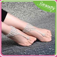 women glossy line clover anklet bracelet