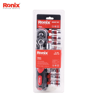 Ronix Ratchet Obeng Alat Perbaikan Model RH-2643 Socket Set 12 Pcs