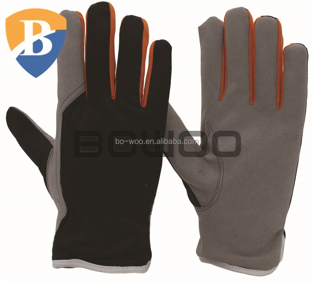 Stretch fabric back gloves synthetic leather gloves supplier labour gloves