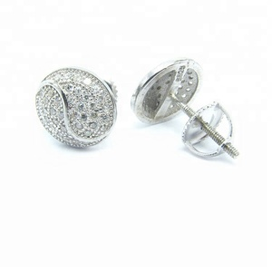 Eight Diagrams shape silver jewelry earring micro pave in small diamend men earring with screw back