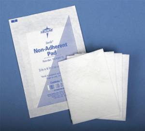 Medline Non-Adherent Sterile Pads (12 Pieces) - This Sterile, Absorbent Rayon/Polyester Pad Will Not Interfere With Granulating Tissue By Sticking To The Wound. The Soft Perforated Film Allows Air To