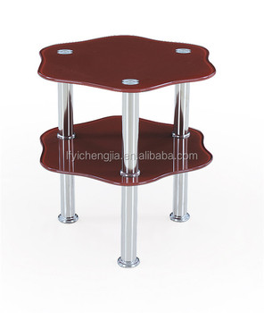 Mirrored Corner Table Metal Legs Simple Coffee