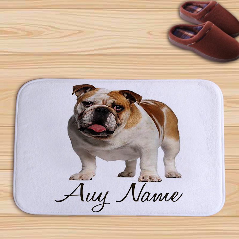 Cute Pug Dog White Schnauzer and Letter Printed Color Animal Door Mat Flannel Floor Mat Rugs Tapis