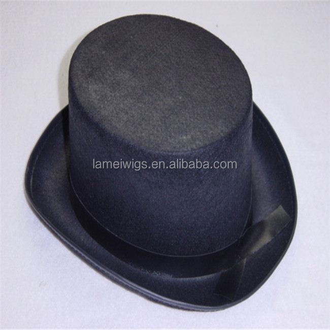 PH00126 High quality black wool men large top hats with leather sweatband
