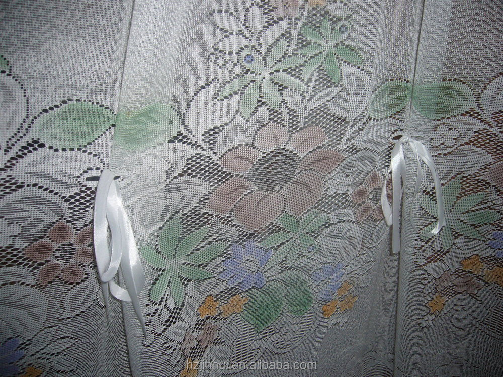 100% Polyester Lace Shinny Model of Living Room Curtains Bleach White