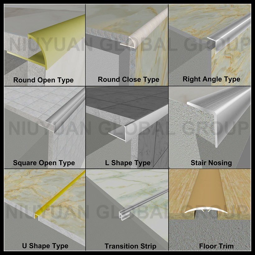 Factory Price Metal Flexible Tile Trim Aluminum Corner
