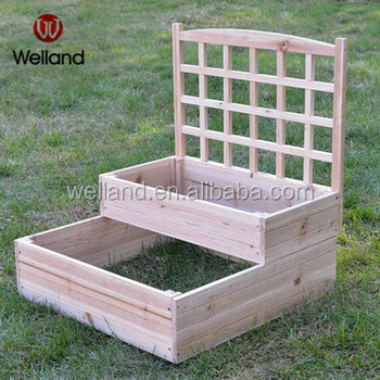 Raised Garden Planting Beds With Trellis Double Tier Plant Containers Two Bed Product On