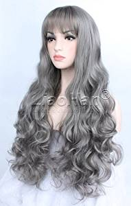 """Liaohan® Fashion Highlights Grey Wig 24"""" Long Curly Wig Full Head Style Synthetic Wigs for Women"""