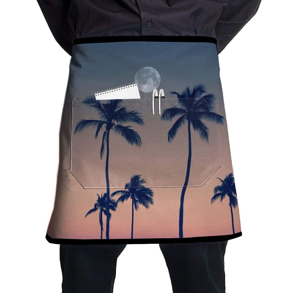Bakers Apron, Mens Hairstylist Apron With Pocket, Sexy Aprons For Women, Kitchen Accessories, Tropical Plants Moon Beach