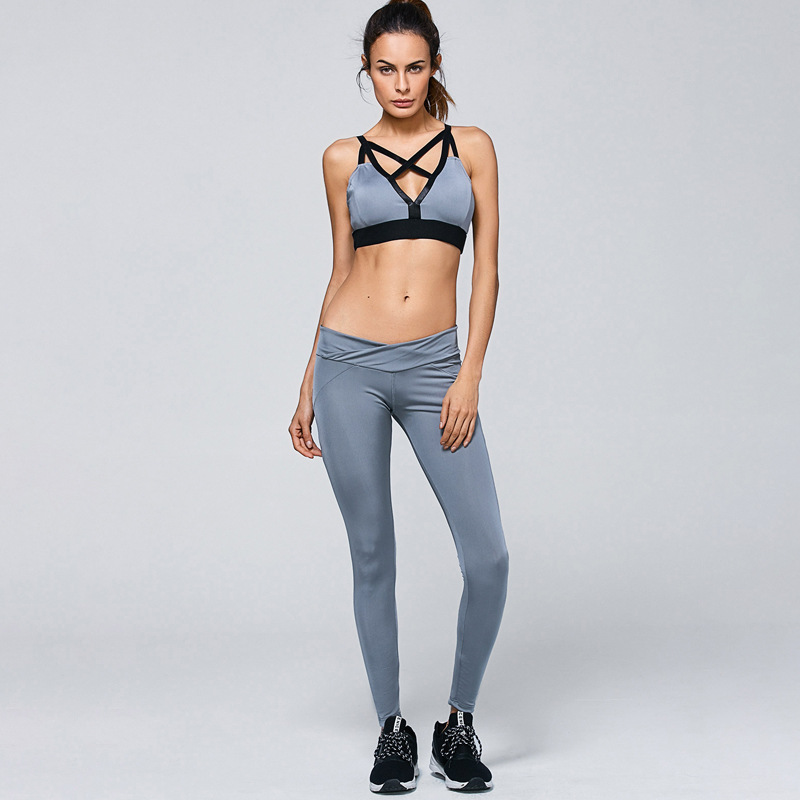 ZH0758H Women sexy cross front bra and legging pants set sportswear