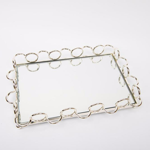 Rectangle mirror metal serving tray rose gold hotel restaurant wedding tray decoration