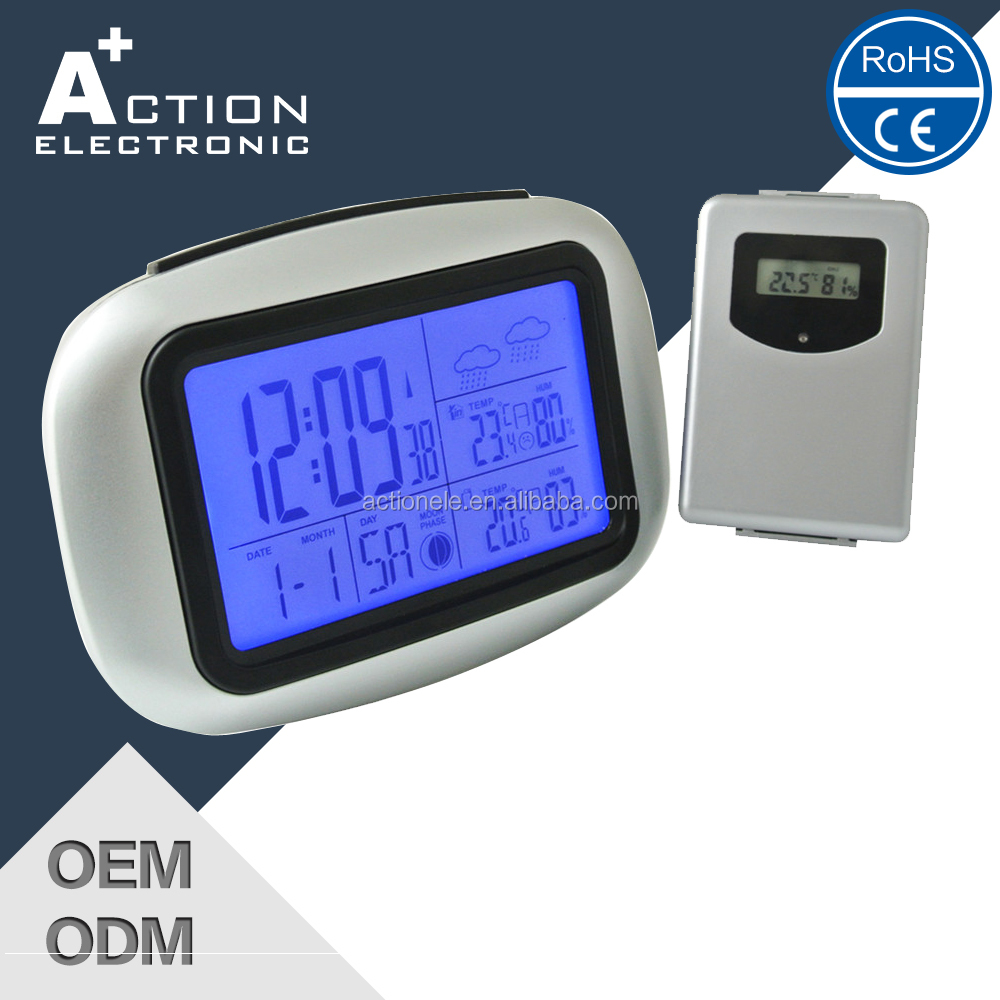 Indoor And Outdoor Digital Alarm RF 433 mhz weather station Clock with Radio Controlled Function