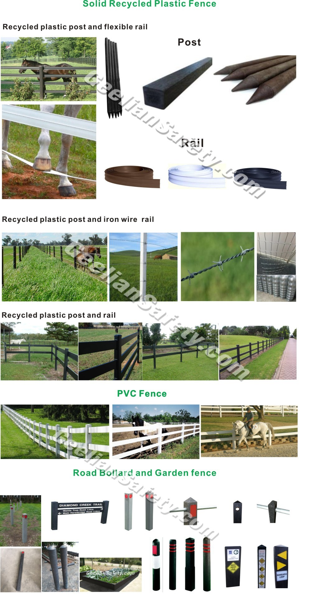 Australian Market Best Quality Solid Recycled Plastic Fence Post For Horse Fence/Farm Fence