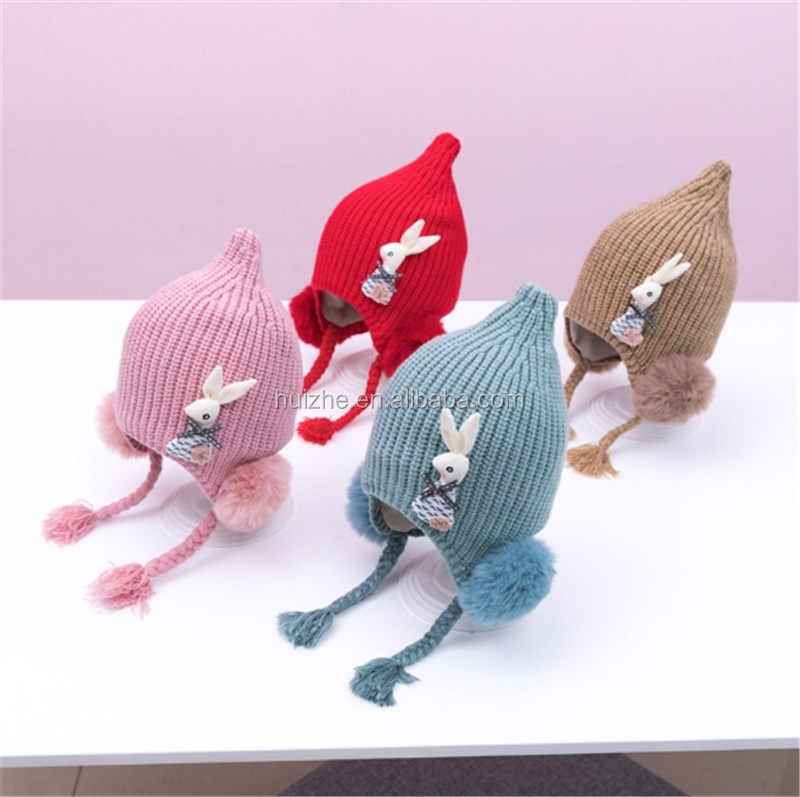 Customizable Wholesale children's warm Winter <strong>hat</strong> Rabbit embellished Beanie <strong>hat</strong> 2019 <strong>new</strong> children's braided wigs baby <strong>hat</strong> cap