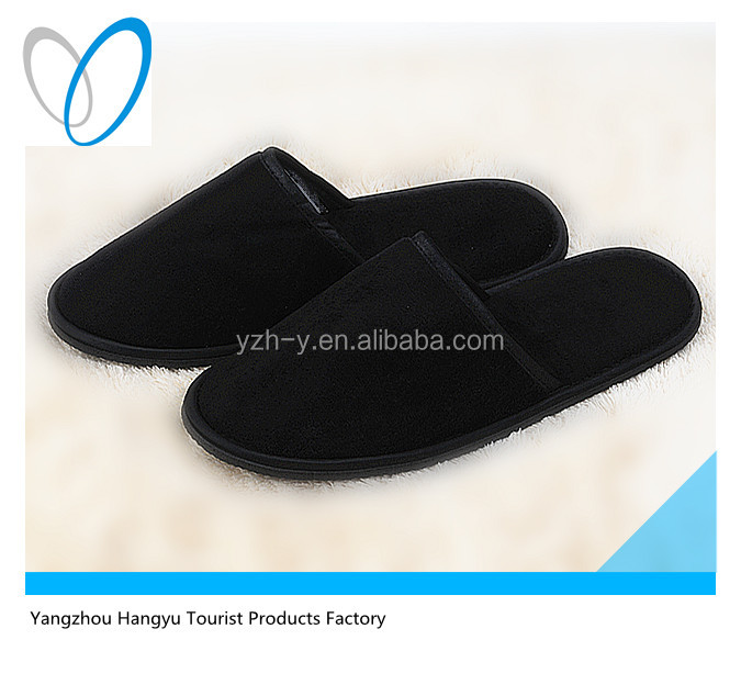 Black upper and sole relaxo flite 100% cotton velour slippers for men