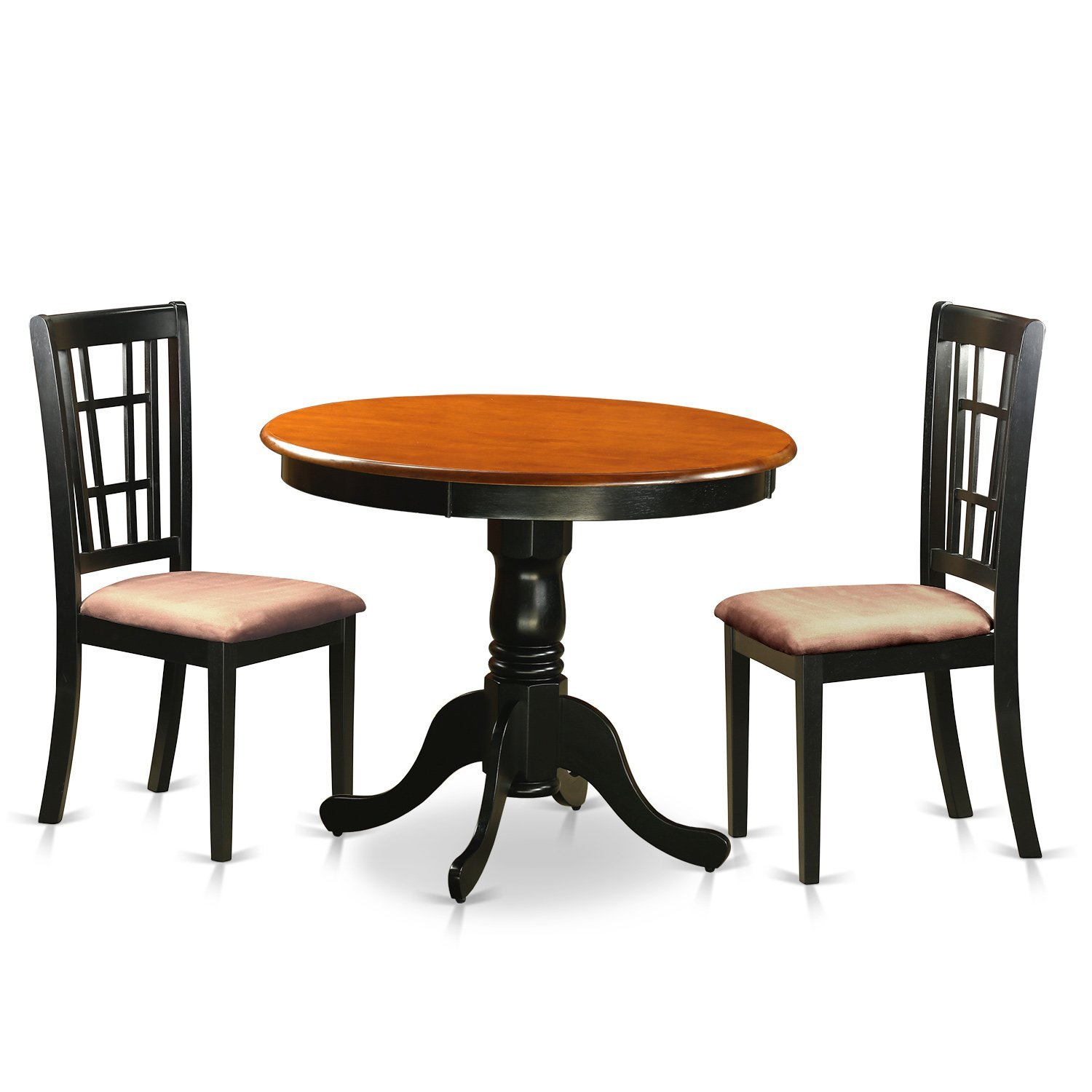 East West Furniture ANNI3-BLK-C 3 Piece Dining Table with 2 Microfiber Antique Chairs, Black/Cherry Finish