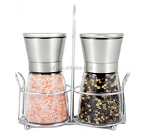 Stainless Steel Salt and Pepper Grinder Set with Stand