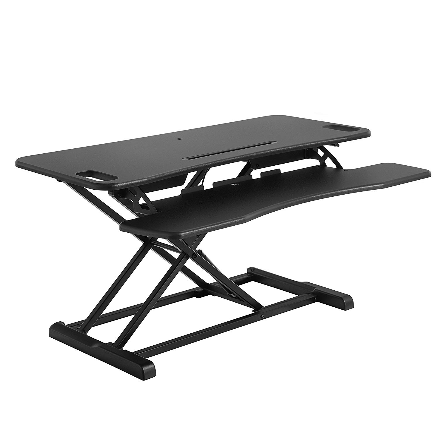 SONGMICS Standing Desk, Height Adjustable Sit to Stand Desk, for Computer, Laptop and Office Supply, with Removable Keyboard Tray - Black, ULSD06BK