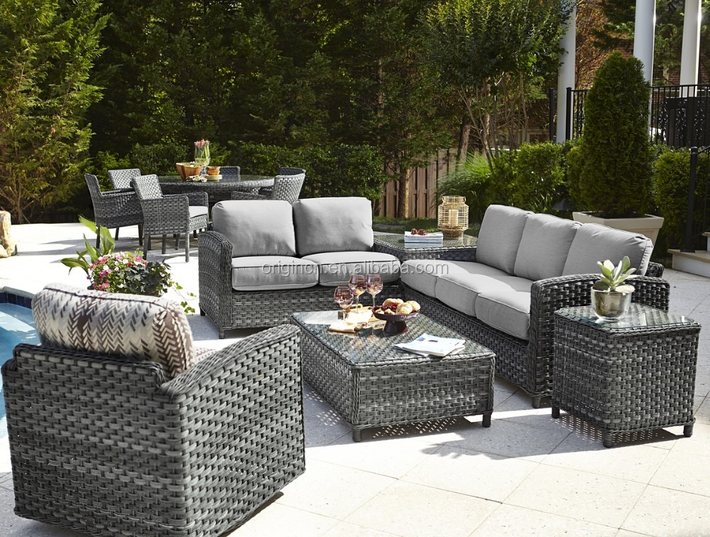Grey Wicker Woven Home Used Garden Outback Leisure Sectional Sofa Rattan Barcelona  Outdoor Furniture