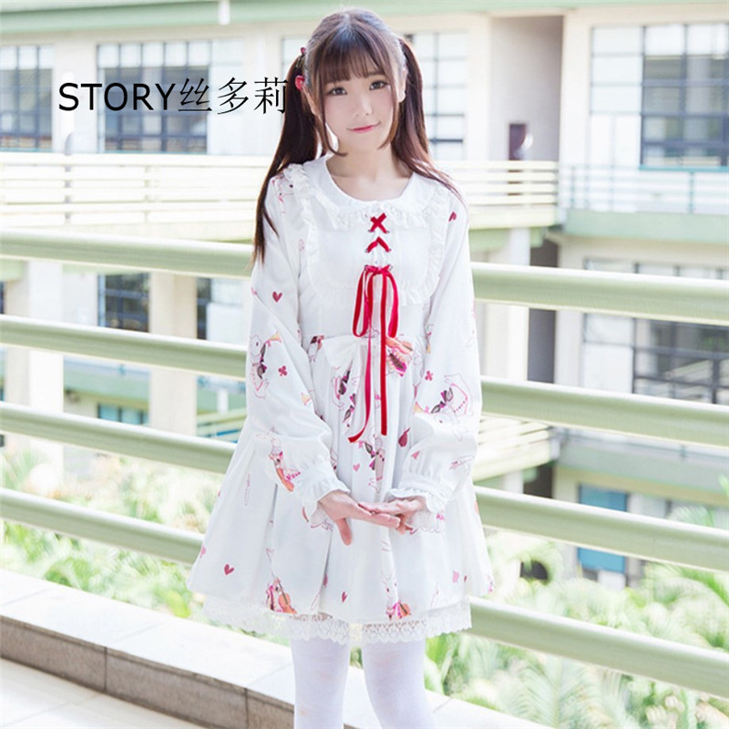 Japan anime sweet fairy girl school Room18cm 생활에 교사 코스프레 의상 옷 short sleeves flouncing 로리타 스 & # dress