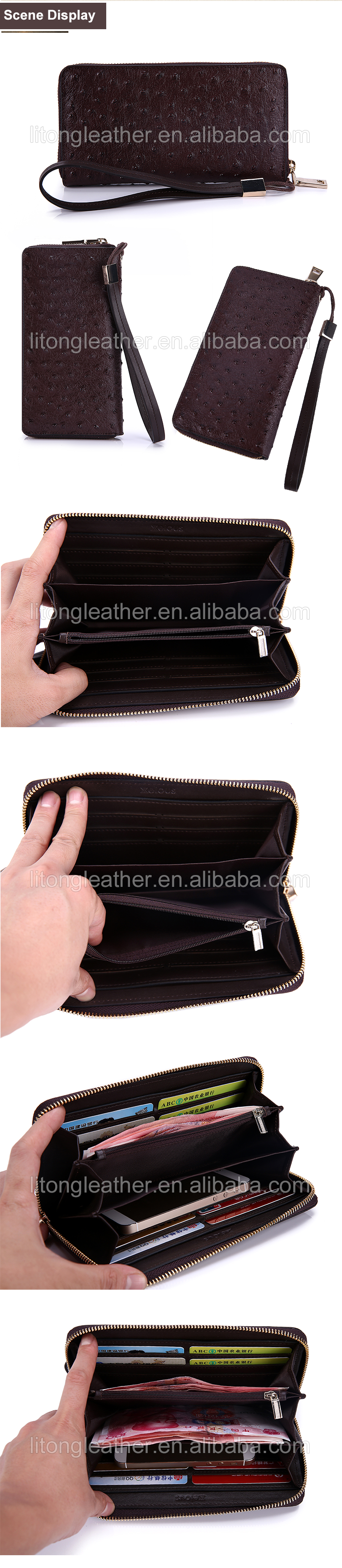 Large capacity RFID blocking full grain ostrich patter leather long wallet mens with card slots zipper cash holder pockets
