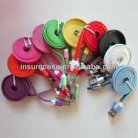 Wholesale Colorful Flat Micro USB data Cables for Samsung galaxy grand duos