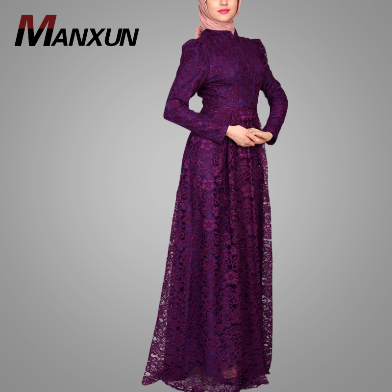 New Style Purple Lace Maxi Dress Turkish Style Latest Abaya Designs Cheap China Wholesale Plus Size Women Clothing