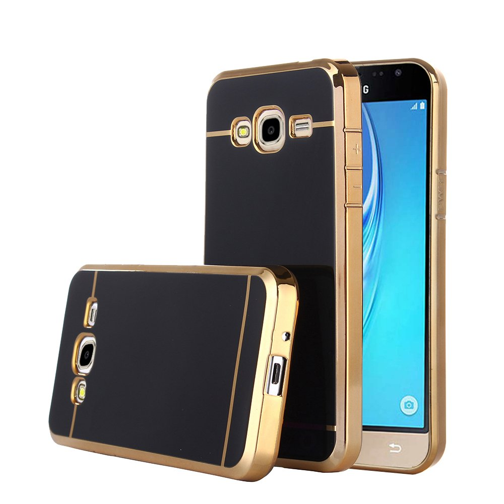 TabPow Galaxy J7 Slim Case, Electroplate Glossy Finish, Drop Protection, Shiny Luxury Case For Samsung Galaxy J7 J700 (2015) - Black Gold