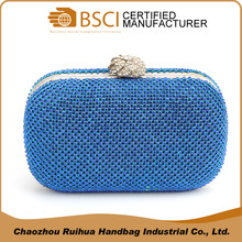 Latest style ladies fancy blue color gem banquet evening clutch bag
