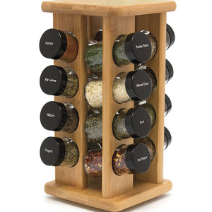 MY3-9012 Home Bamboo Revolving Spice Rack with 16 Glass Spice Jars
