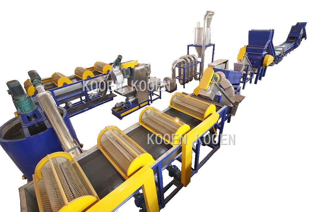 KOOEN Afval HUISDIER plastic fles/vlokken wassen/recycling lijn/machine/plant
