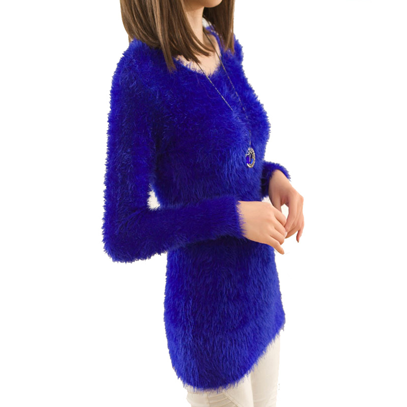 3ef08da4fb Get Quotations · Women Sweater 2015 Winter Knitted Mohair Sweaters And  Pullovers Dress Sueter Tricot Long Sleeve Korean Cute