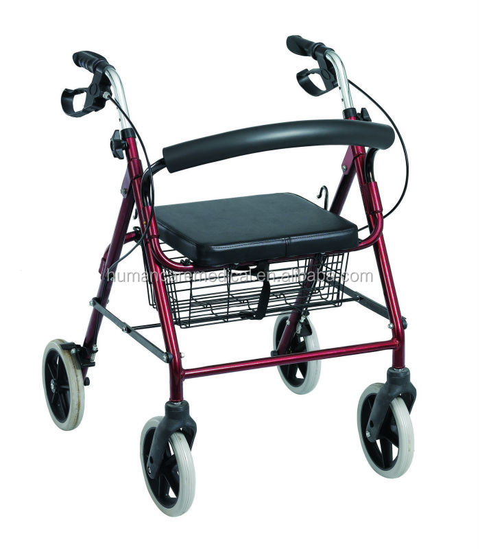 wheelchair rollator walker with seat and footrest ,aluminum folding walker with seat