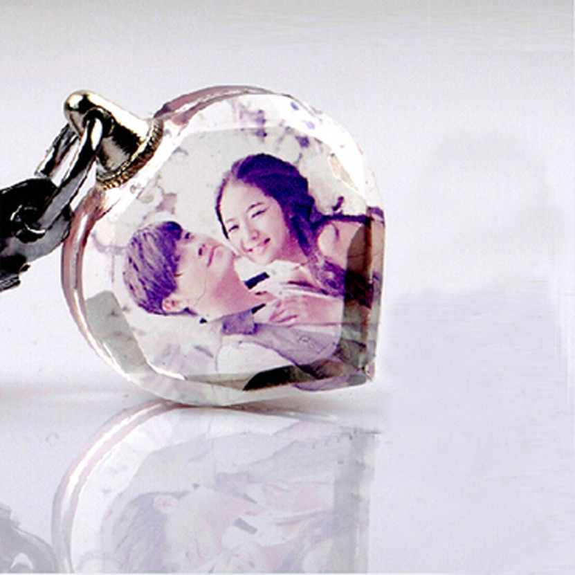 Valentines Gift New Design Promotional Lover Wedding Souvenirs Photo Printing Crystal Heart Keychain